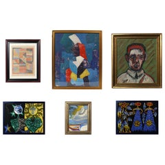 Selection of Colorful Modern Art or Gallery Wall