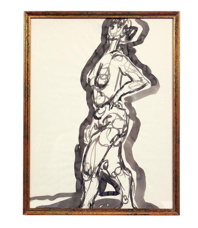 Mid-Century Modern Selection of Female Nude Paintings or Gallery Wall by Miriam Kubach For Sale
