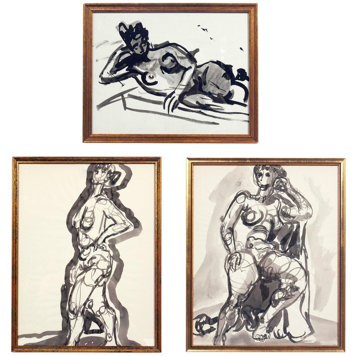 Selection of Female Nude Paintings or Gallery Wall by Miriam Kubach