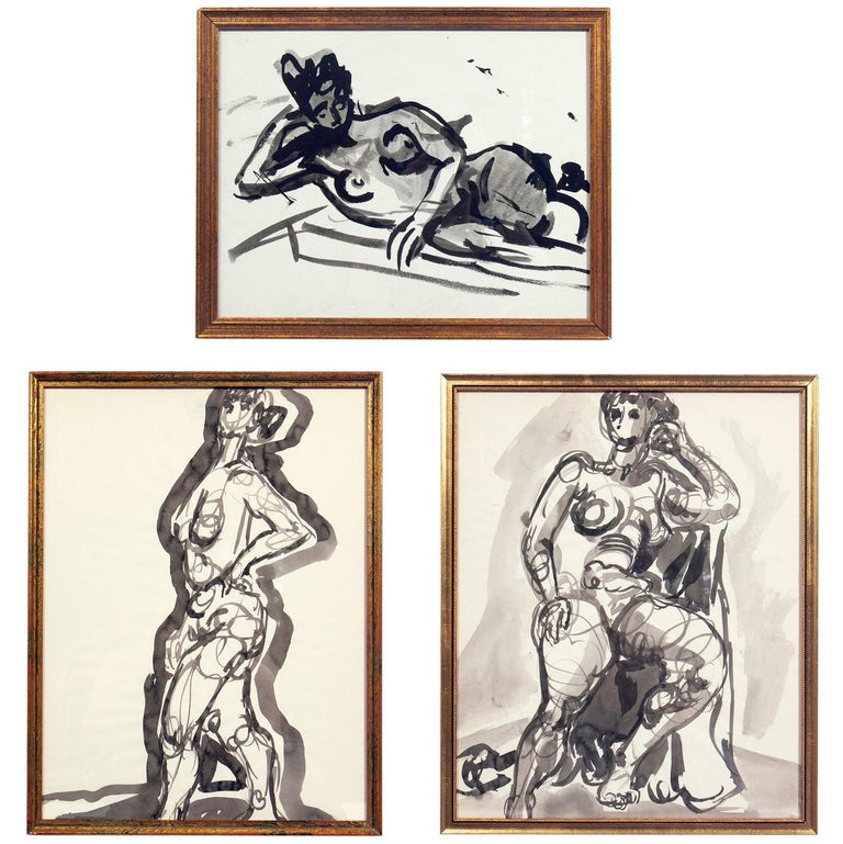 Selection of Female Nude Paintings or Gallery Wall by Miriam Kubach For Sale