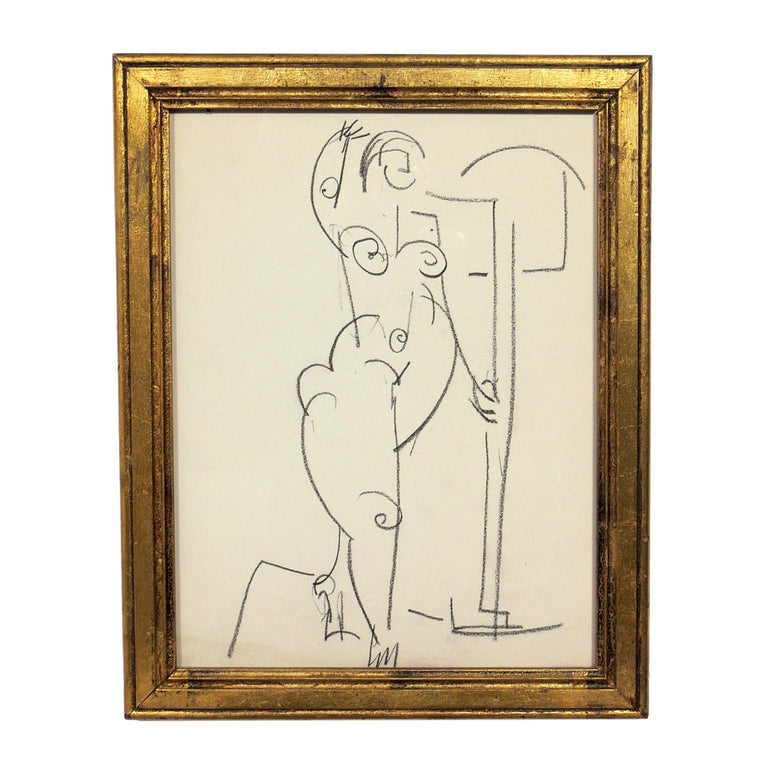Selection of Figural Drawings in Vintage Gilt Frames For Sale 3