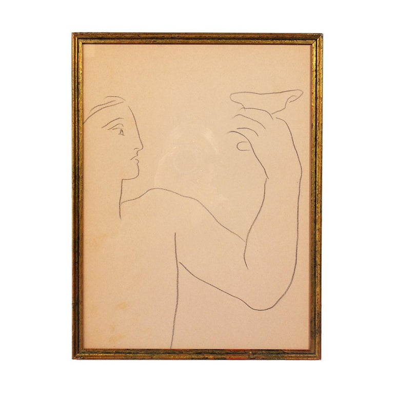 Selection of Figural Drawings in Vintage Gilt Frames For Sale 4
