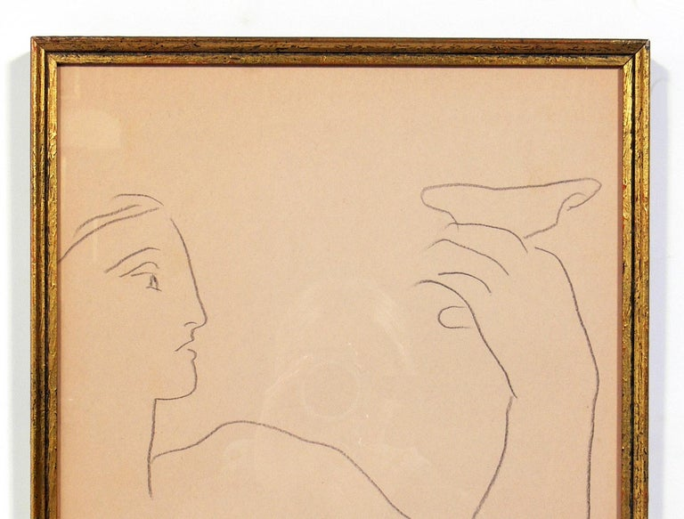 Selection of Figural Drawings in Vintage Gilt Frames For Sale 5