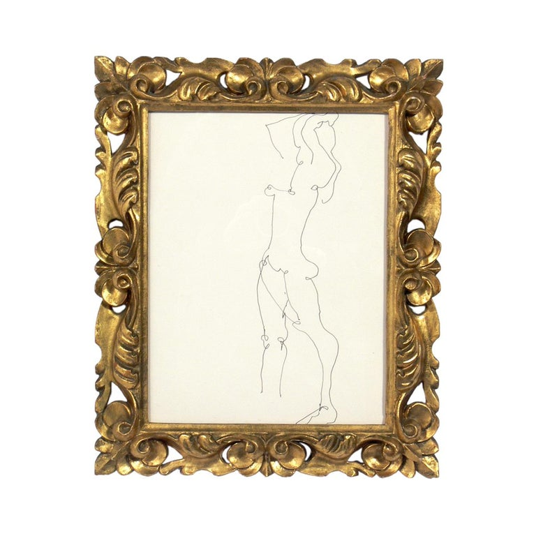 Selection of figural drawings in Vintage gilt frames, circa 1960s. They are: 1) Figural nude drawing by Miriam Kubach, circa 1960s. It is seen at the top left in the first photo and measures 15