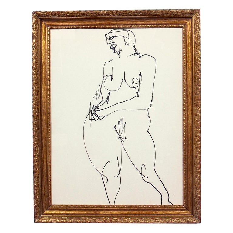 Selection of figural drawings or gallery wall, French, circa 1960s. Artist unknown. Some executed in pen, some in pencil or chalk. Clockwise from the top, they measure 13.25