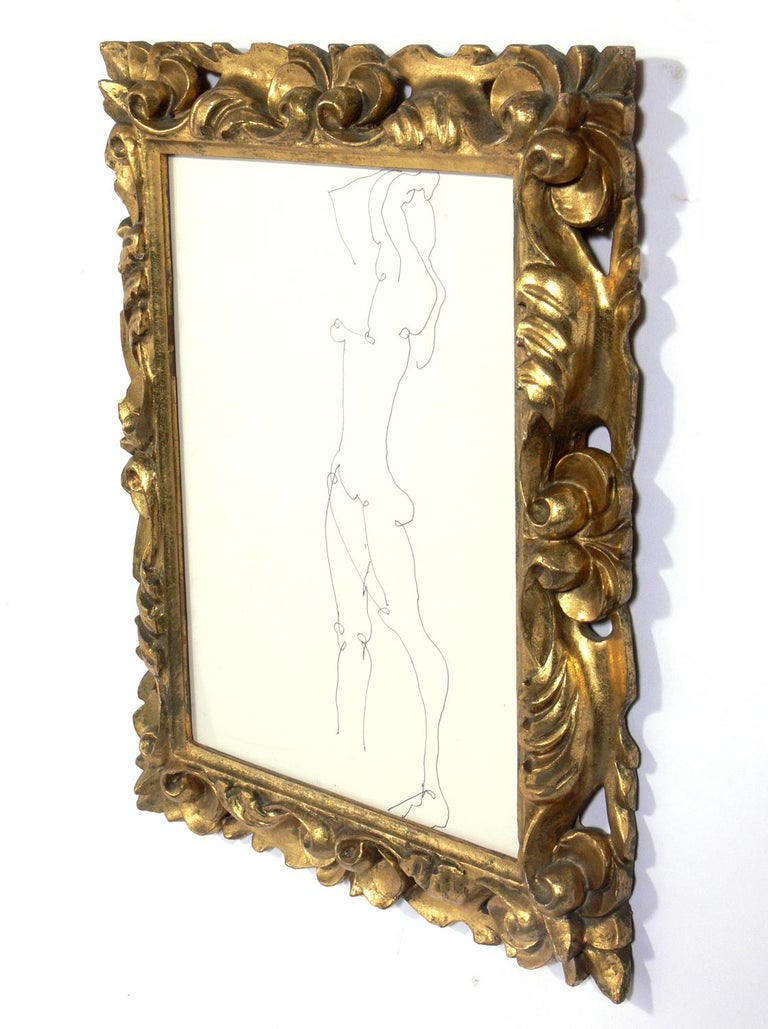 Mid-Century Modern Selection of Figural Drawings in Vintage Gilt Frames For Sale