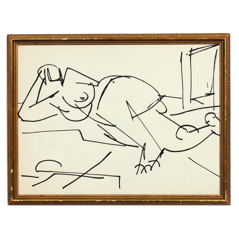 French Selection of Figural Drawings in Vintage Gilt Frames For Sale