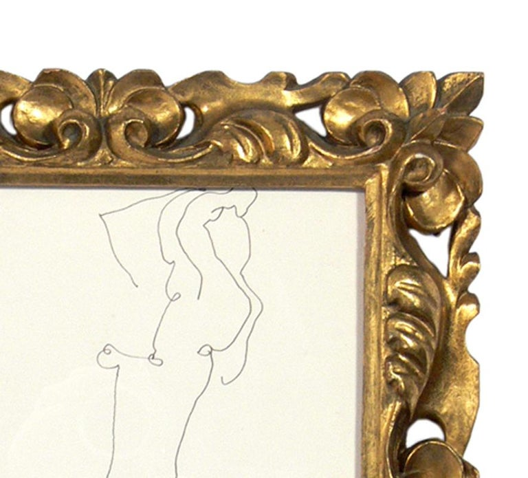 American Selection of Figural Drawings in Vintage Gilt Frames For Sale