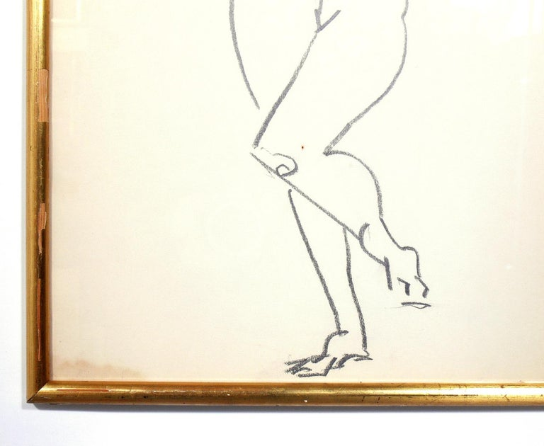 Glass Selection of Figural Drawings in Vintage Gilt Frames For Sale