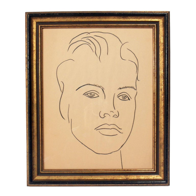 Selection of Figural Drawings in Vintage Gilt Frames For Sale 1