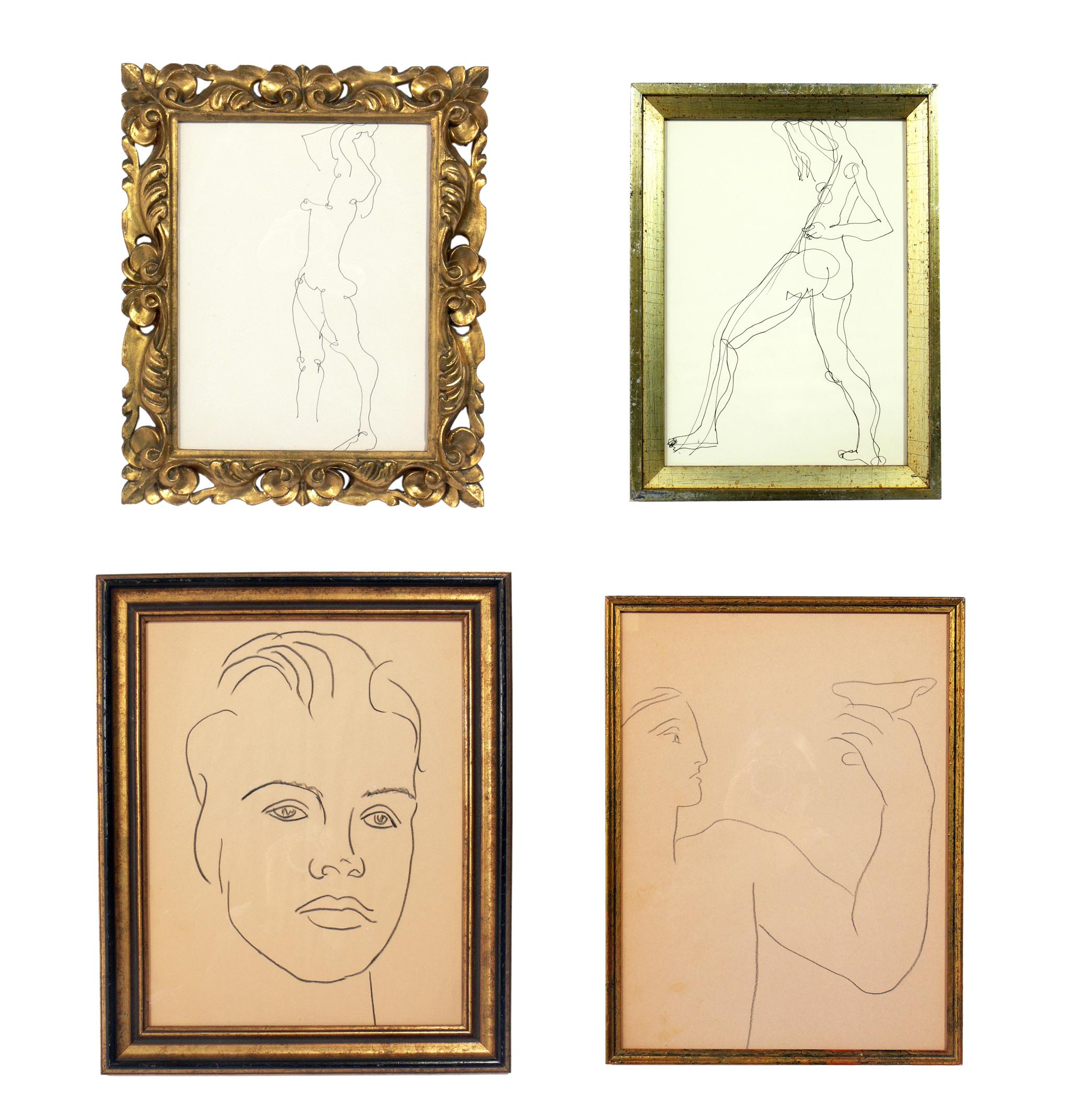 Selection of Figural Drawings in Vintage Gilt Frames