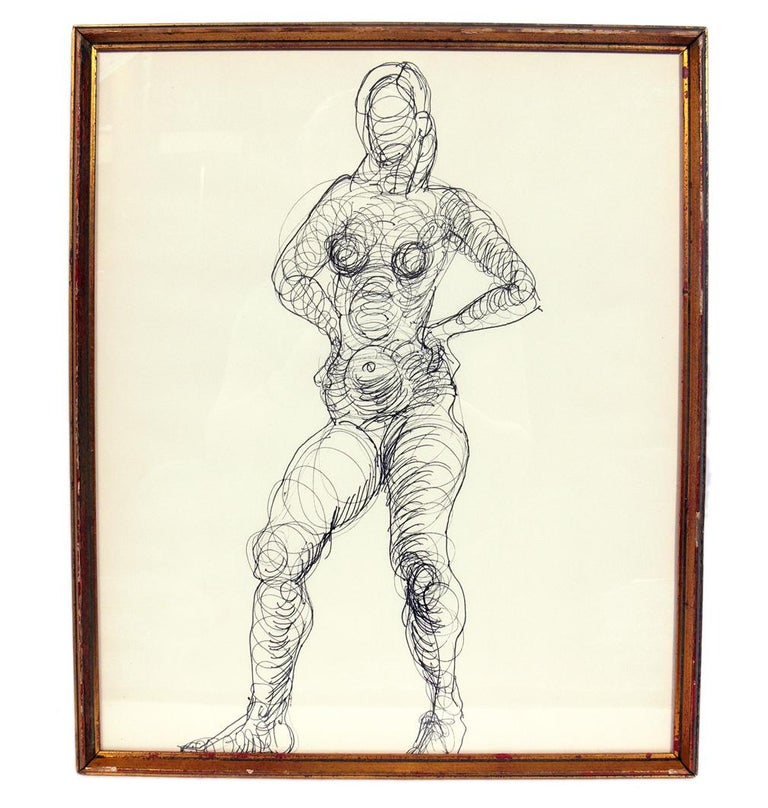 Selection of figural nude line drawings or gallery wall by Miriam Kubach, American, circa 1950s. Measures: Top row, left to right: 17