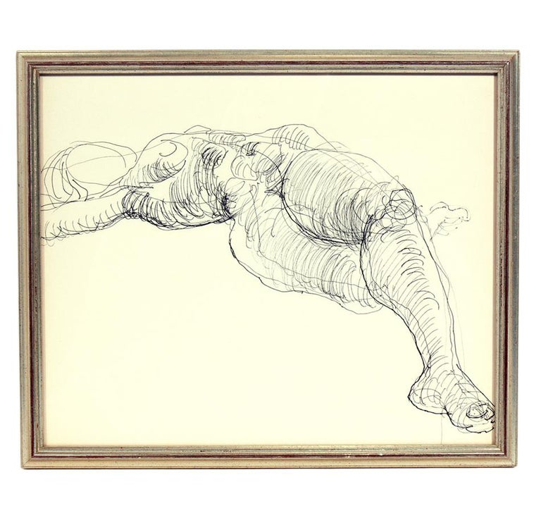 Mid-Century Modern Selection of Figural Line Drawings by Miriam Kubach For Sale