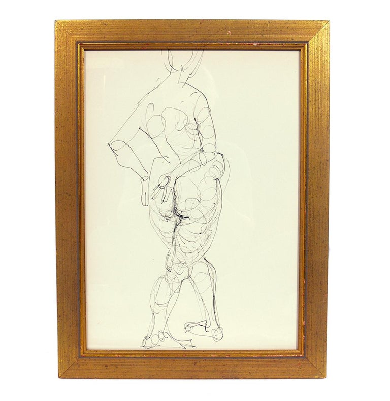 Selection of Figural Line Drawings by Miriam Kubach In Good Condition For Sale In Atlanta, GA