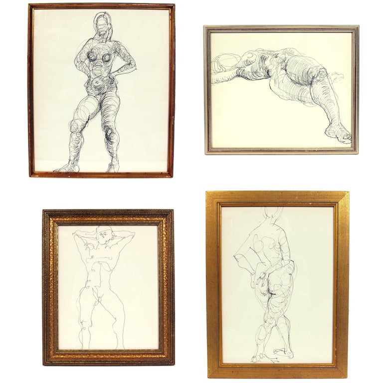 Selection of Figural Line Drawings by Miriam Kubach For Sale