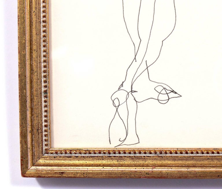 Selection of Figural Line Drawings or Gallery Wall by Miriam Kubach For Sale 3