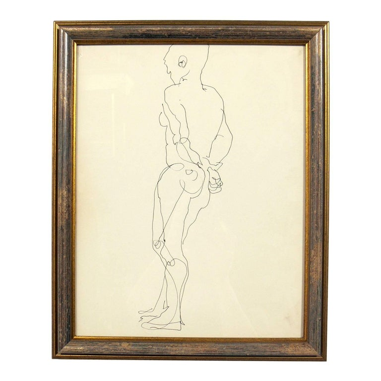 Selection of Figural Line Drawings or Gallery Wall by Miriam Kubach For Sale 4