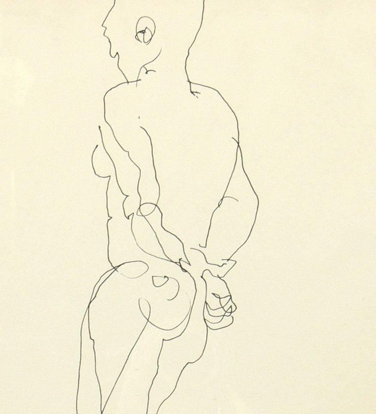 Selection of Figural Line Drawings or Gallery Wall by Miriam Kubach For Sale 5
