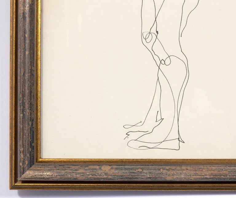 Selection of Figural Line Drawings or Gallery Wall by Miriam Kubach For Sale 6