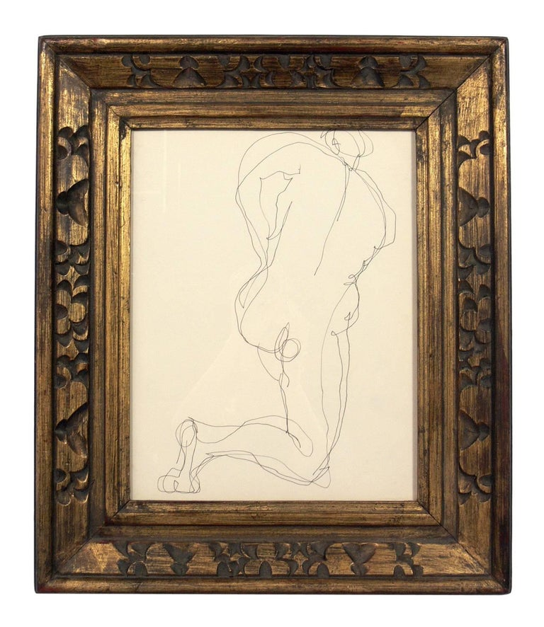 Selection of figural line drawings or gallery wall by Miriam Kubach, American, circa 1950s. They have been framed in vintage gilt frames. From left to right they measure 20