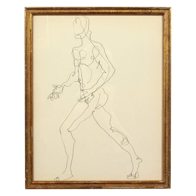 Selection of figural line drawings or gallery wall by Miriam Kubach, American, circa 1950s. They have been framed in vintage gilt frames. Top row, left to right, they measure 14.75