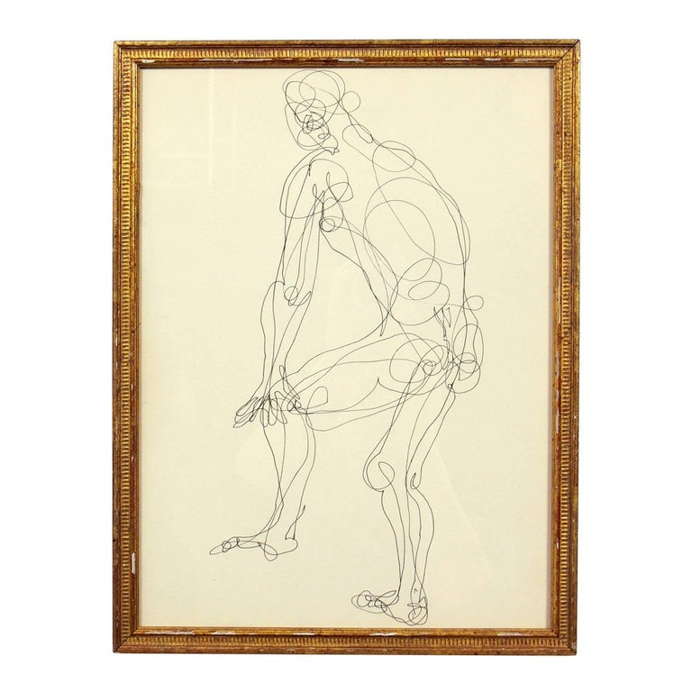 American Selection of Figural Line Drawings or Gallery Wall by Miriam Kubach For Sale