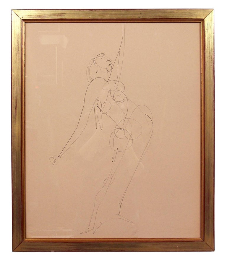 Selection of Figural Line Drawings or Gallery Wall by Miriam Kubach In Good Condition For Sale In Atlanta, GA