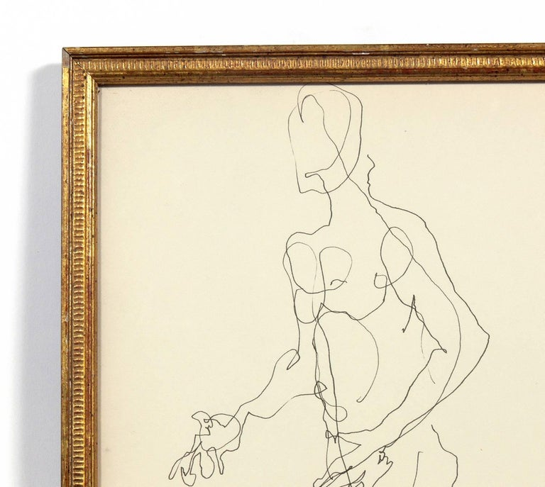 Mid-20th Century Selection of Figural Line Drawings or Gallery Wall by Miriam Kubach For Sale