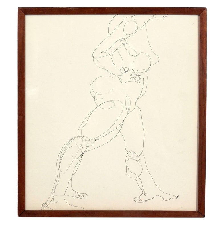 Paper Selection of Figural Line Drawings or Gallery Wall by Miriam Kubach For Sale