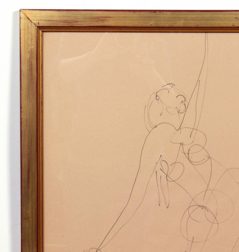 Glass Selection of Figural Line Drawings or Gallery Wall by Miriam Kubach For Sale