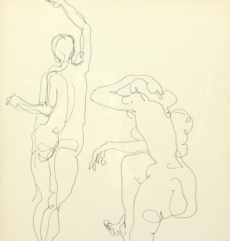 Selection of Figural Line Drawings or Gallery Wall by Miriam Kubach For Sale 2
