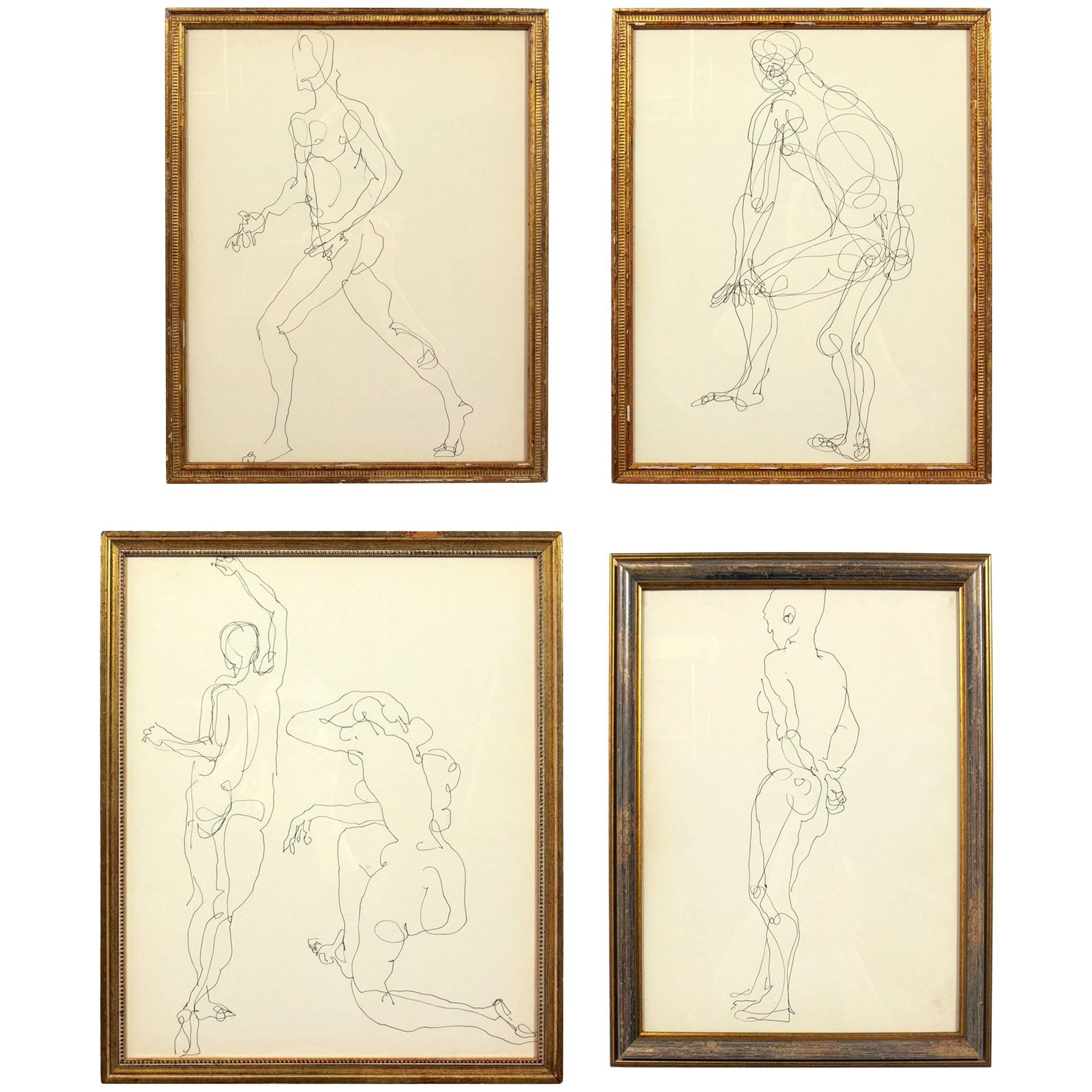 Selection of Figural Line Drawings or Gallery Wall by Miriam Kubach