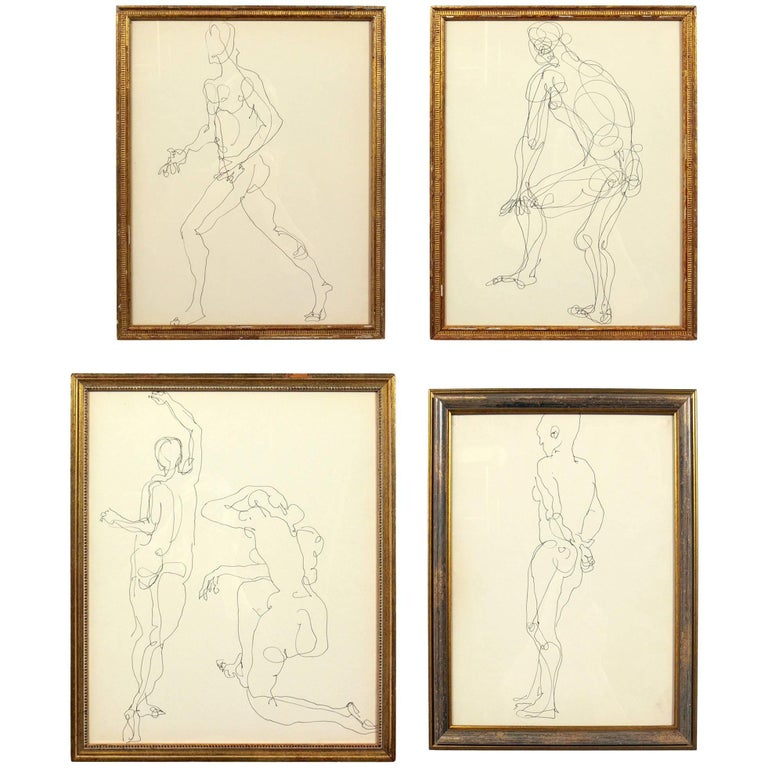 Selection of Figural Line Drawings or Gallery Wall by Miriam Kubach For Sale