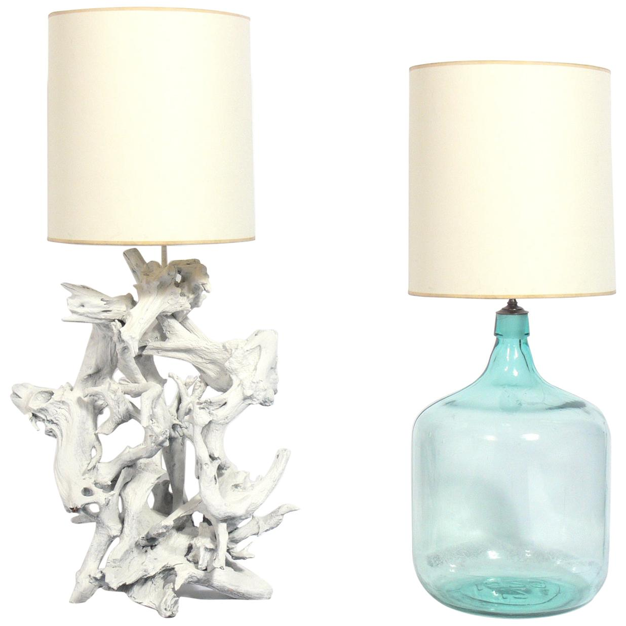 Selection of Large Scale Beach House Lamps, Driftwood and Glass