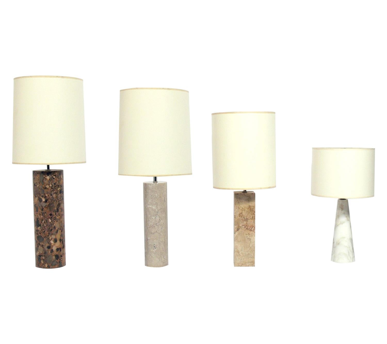 Selection of Midcentury Marble Lamps