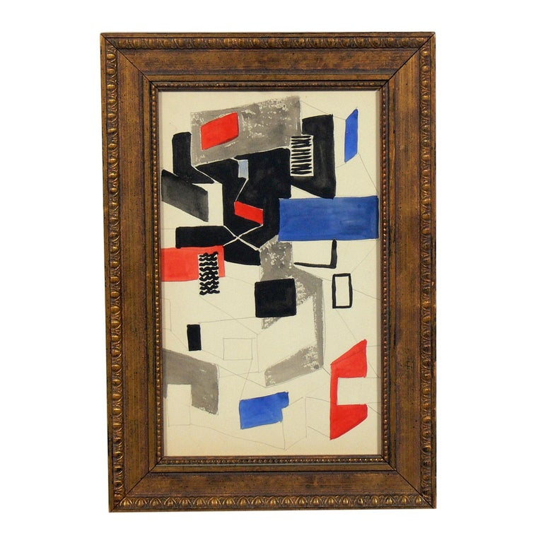 Selection of Modernist Art or gallery wall, French, mostly circa 1960s. They are: On the top row, from left to right: 1) Cubist French painting, circa 1940s. It measures 13