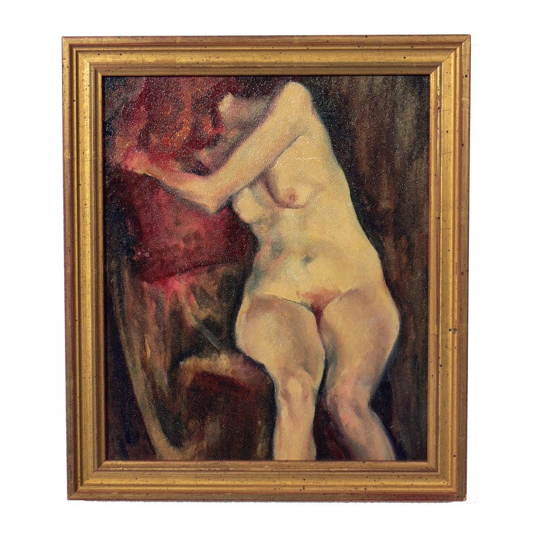 Selection of Modernist or gallery wall, circa 1950s. They have all been framed in vintage gilt frames. They are priced at $650 each. From left to right as seen in the first photo, they are: 1) Original female nude painting, oil on board, artist