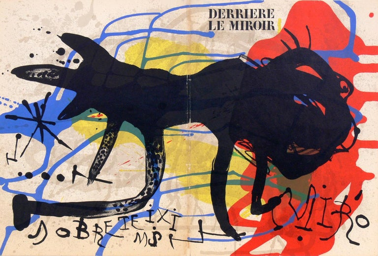 Selection of modernist lithographs or gallery wall, French, circa 1960s. From top left to right, they are: 1) Joan Miro color lithograph, from Derriere Le Miroir, circa 1960s. Seen at upper left. It measures 18.5