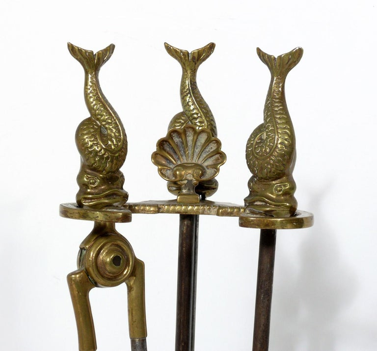 French Selection of Neoclassical Brass Fire Tools and Andirons For Sale