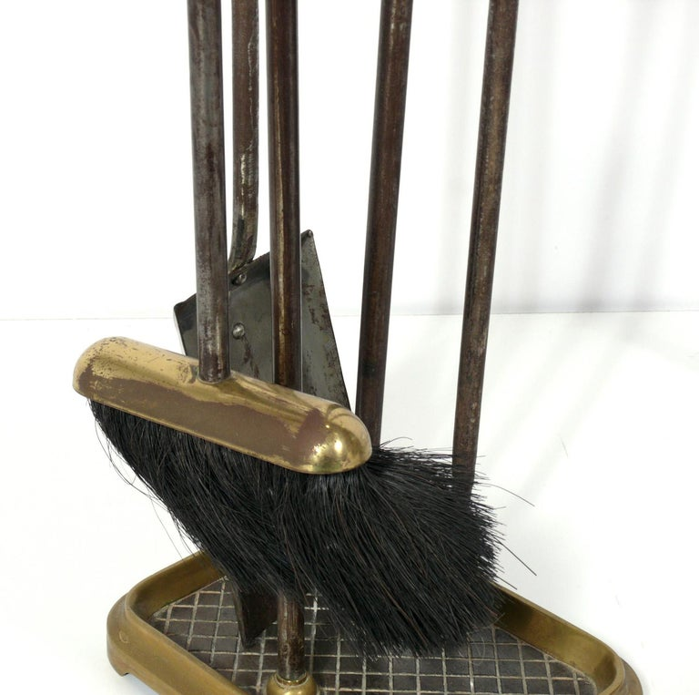 Selection of Neoclassical Brass Fire Tools and Andirons In Good Condition For Sale In Atlanta, GA