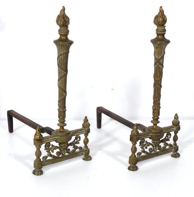 Metal Selection of Neoclassical Brass Fire Tools and Andirons For Sale