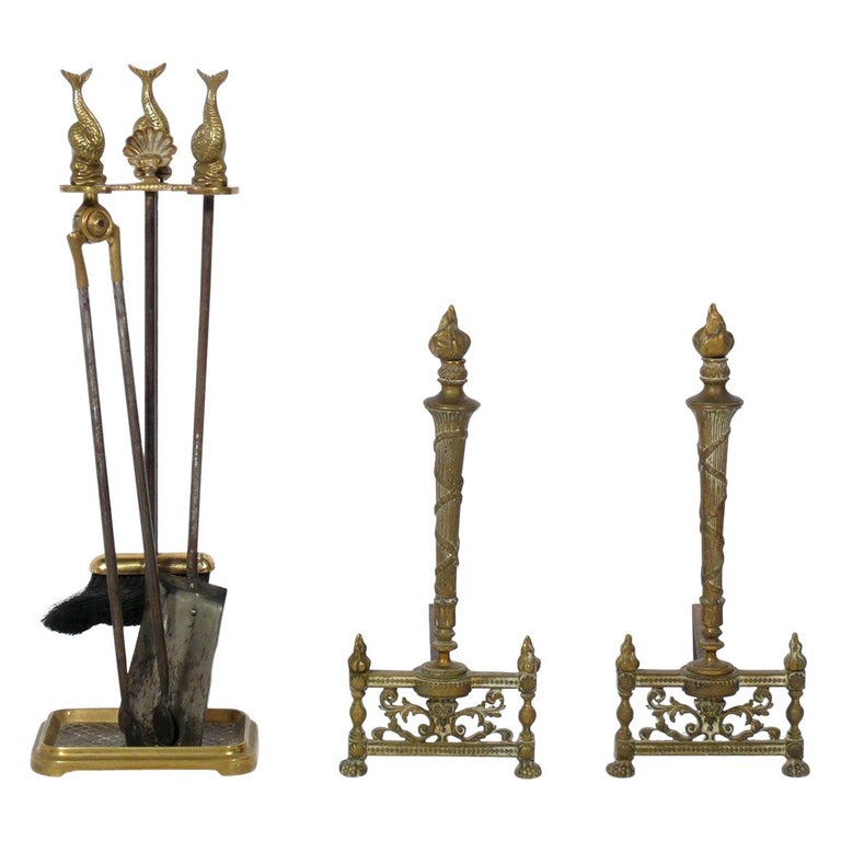 Selection of Neoclassical Brass Fire Tools and Andirons For Sale
