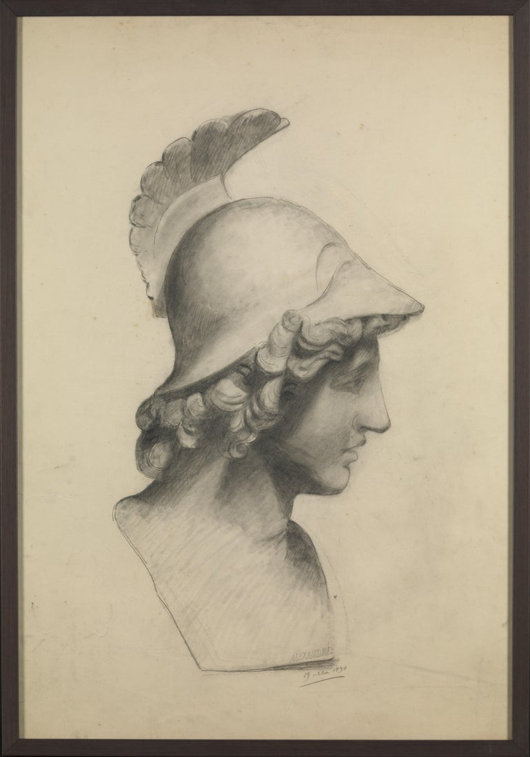 Selection of three 19th century Classic academic drawings, charcoal pencil on paper, framed.