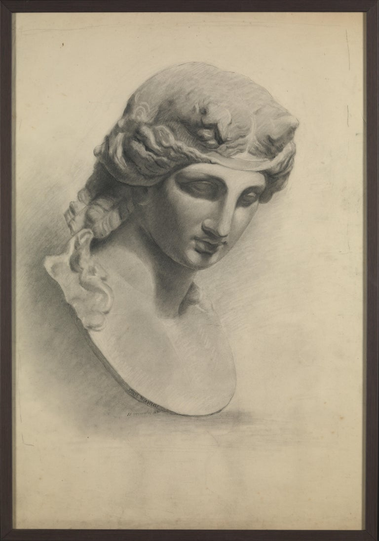 French Selection of Three Academic Drawings, Charcoal Pencil on Paper, Framed For Sale