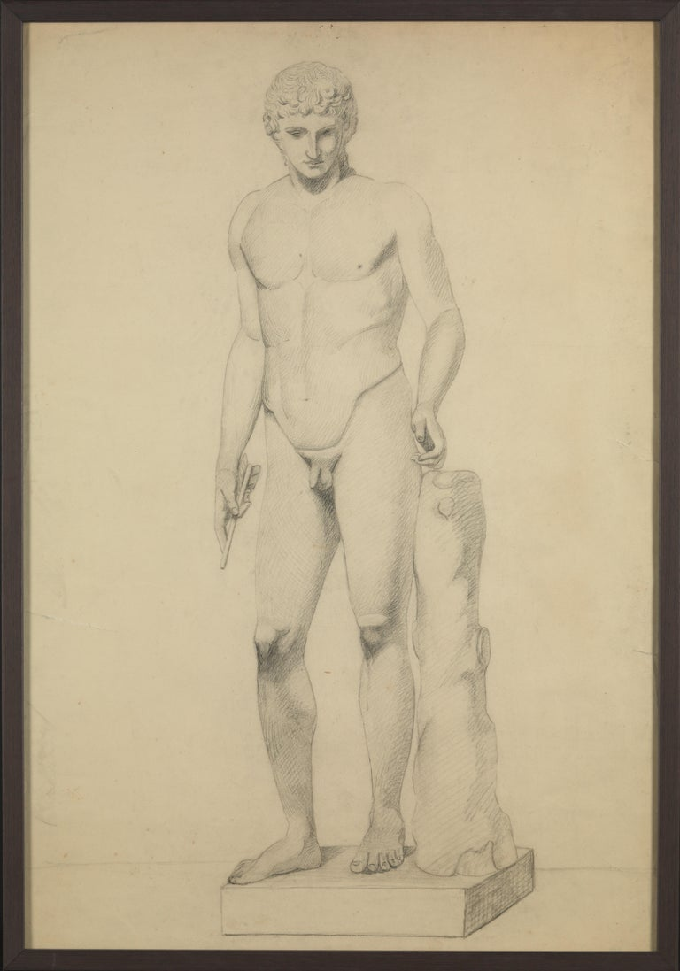 Selection of Three Academic Drawings, Charcoal Pencil on Paper, Framed In Good Condition For Sale In Leuven , BE