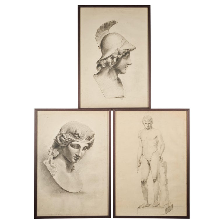 Selection of Three Academic Drawings, Charcoal Pencil on Paper, Framed For Sale