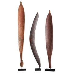 Selection of Three Aboriginal Traditional Weapons, Boomerang and Two Woomeras