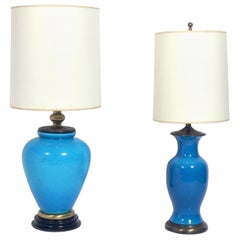 Selection of Vibrant Blue Ceramic Lamps