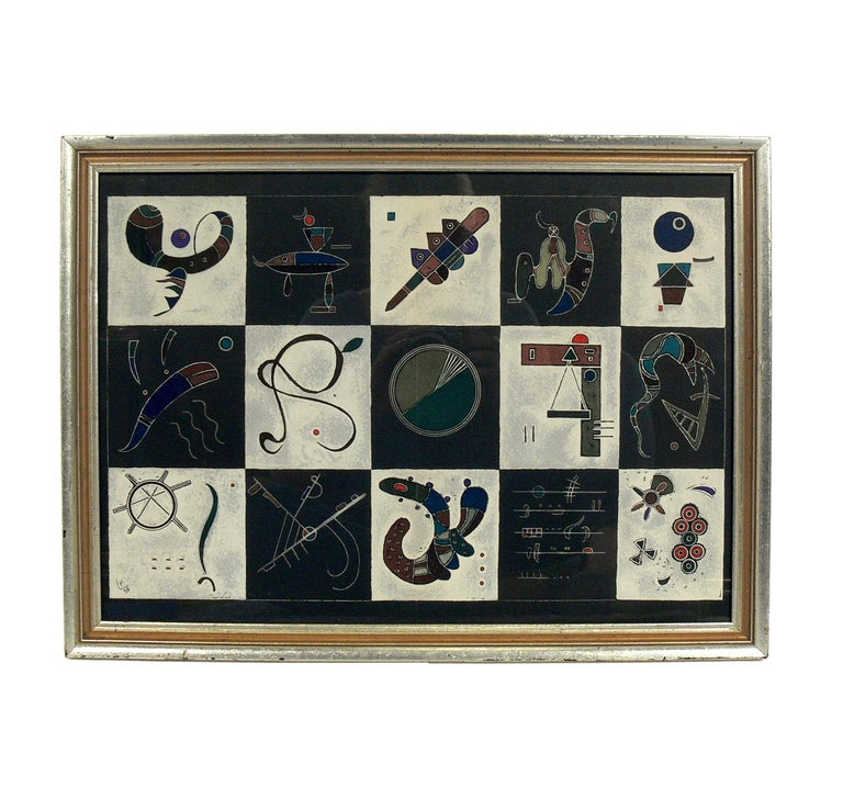 Selection of Wassily Kandinsky lithographs or gallery wall, circa 1960s. The lithograph pictured on the top left measures 15