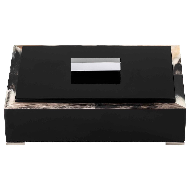 Selene Box in Glossy Black Lacquered Wood with Corno Italiano Inlays, Mod. 5311s